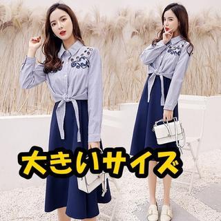 大きいサイズ 刺繡入りシャツ&スカートセット (シャツ/ブラウス(長袖/七分))