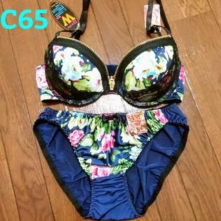【新品】ブラジャー ショーツ セット C65 c65 花柄 サテン 盛りブラ(ブラ&ショーツセット)