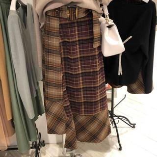 ムルーア(MURUA)のタグ無し新品 流行ロングチェックスカート ベルト付き(ロングスカート)