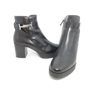 トッズ(TOD'S)の美品トッズ黒ダブルTブーツ38.5約24.5-25レディース靴シューズ(ブーツ)