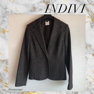 INDIVI - INDIVI ワールド ジャケット 毛 秋冬 きれいめ 通勤 お仕事 オフィス