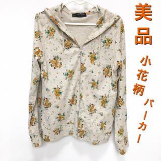 シマムラ(しまむら)のベージュ系×オレンジ小花柄パーカーLサイズ(パーカー)