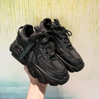 新作  ファッション  厚底 スニーカー  運動靴 ブラック   (スニーカー)