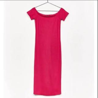 ザラ(ZARA)の新品 未使用 ザラ ZARA  ワンピース タイト ドレス ピンク オフショル(ひざ丈ワンピース)