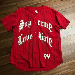 シュプリーム(Supreme)の19aw シュプリーム Supreme ベースボールシャツ レッド サイズL (シャツ)