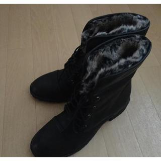 【未使用】中ボア 編み上げショートブーツ(ブーツ)