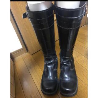 ロングブーツ 革ブーツ 黒 23.5(ブーツ)