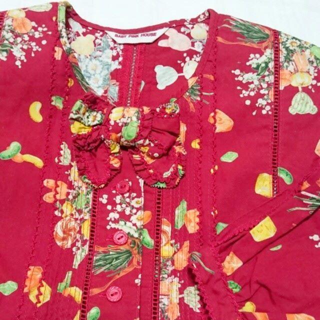 PINK HOUSE(ピンクハウス)のS BABY PINK HOUSE キャンディーと花ブーケ柄のワンピース キッズ/ベビー/マタニティのキッズ服 女の子用(90cm~)(ワンピース)の商品写真