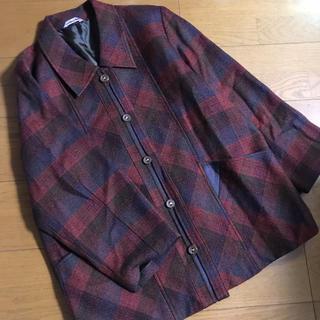 グリモワール(Grimoire)のオーバーサイズ 赤茶 チェック柄 ウールジャケット 羽織り アウターレトロ 古着(ロングコート)