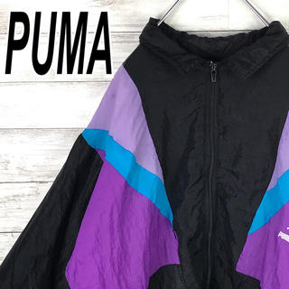 プーマ(PUMA)のプーマ ナイロン ブルゾン 90s 紫 青 黒 ヴィンテージ 送料無料(ナイロンジャケット)