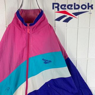 アディダス(adidas)のReebok リーボック ナイロンジャケット ベクターロゴ マルチカラー 90s(ナイロンジャケット)