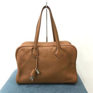 エルメス(Hermes)の美品 エルメス ヴィクトリア35 トリヨンクレマンス 茶(ハンドバッグ)