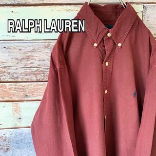 Ralph Lauren - ラルフローレン 90s ビッグシルエット 刺繍ロゴ BDシャツ ワインレッド L