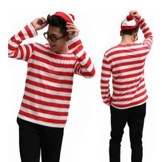 ウォーリー 風 メンズ用 ボーダーロンT 3点セット ハロウィン 衣装 L(Tシャツ/カットソー(七分/長袖))