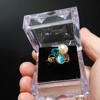 ブルージルコニア&淡水パール&キャッツアイの指輪(リング(指輪))