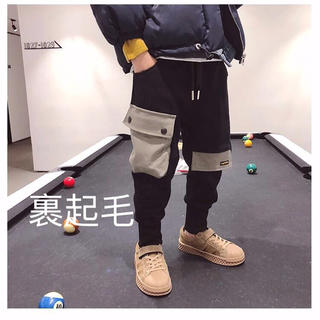 KTBA025冬キッズ 綿 裏起毛厚手サルエルパンツ ズボン(100-150)
