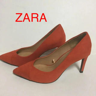 ザラ(ZARA)のZARA オレンジスエードパンプス(ハイヒール/パンプス)