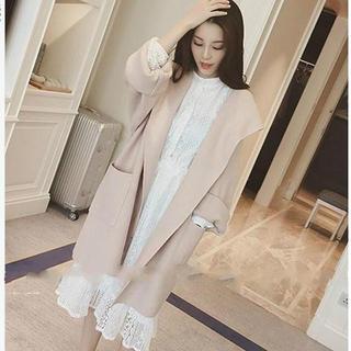 ザラ(ZARA)のフード付きミディアム丈コート ルーズスタイル 2色展開 ピンク(ロングコート)