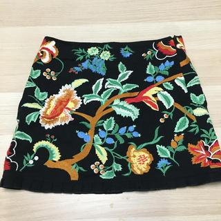 ザラ(ZARA)のZARA WOMAN 刺繍スカート(ひざ丈スカート)