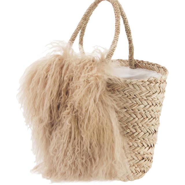 Ungrid(アングリッド)のUngrid ファーコンビカゴバッグ レディースのバッグ(かごバッグ/ストローバッグ)の商品写真