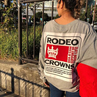 RODEO CROWNS WIDE BOWL - BIG PATCH ロングスリーブTシャツ T.GRY/F