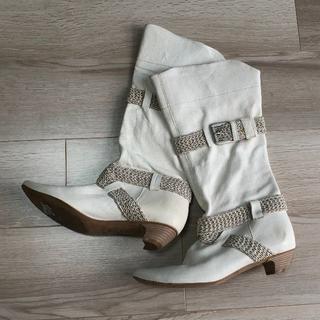 イタリア製★白レザーロングブーツ37 1/2(ブーツ)