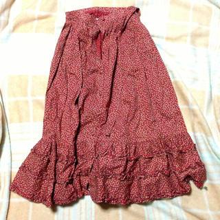 小花柄赤ロングスカート(ロングスカート)