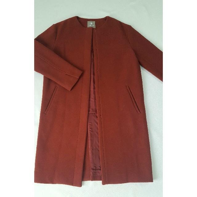 nano・universe(ナノユニバース)の着払いノーカラーロングコート秋冬 レディースのジャケット/アウター(ロングコート)の商品写真