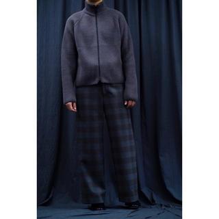 URU(ウル)19aw WOOL CHECK WIDE PANTS/Gray