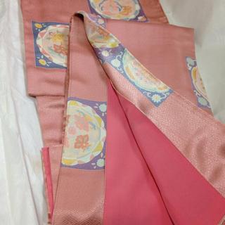 正絹訪問着☆浅緋色(コーラルピンク)➕同柄袋帯セット(烙印入り「(着物)