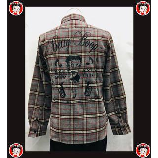 2019 秋冬 BETTY BOOP 刺繍 ネルシャツ グレー M