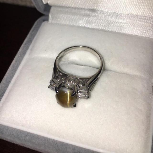 ダイヤモンド×クリソベリルキャッツアイリング Pt900 2.27ct 5.6g レディースのアクセサリー(リング(指輪))の商品写真