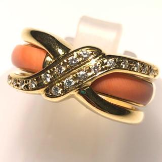 石川暢子 リング 指輪 珊瑚 コーラルサンゴ ダイヤ ダイヤモンド AsTime(リング(指輪))
