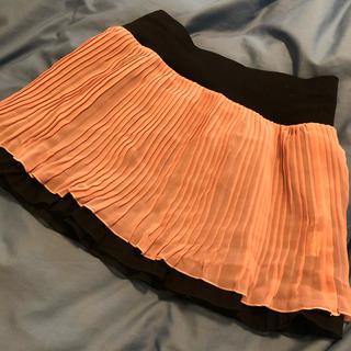 リバーシブル プリーツスカート ピンク 黒 L L L 大きいサイズ 2way(ミニスカート)