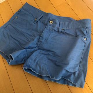 新品 水色 ショートパンツ カラーパンツ ブルー デニムショーパン 大きいサイズ(ショートパンツ)