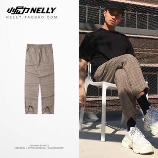 韓国ファッション メンズ トレンド チェック柄ボトムス パンツ ズボンおしゃれ