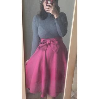 しまむら - しまむら フレア ミモレ丈 スカート L サイズ ウエストリボン