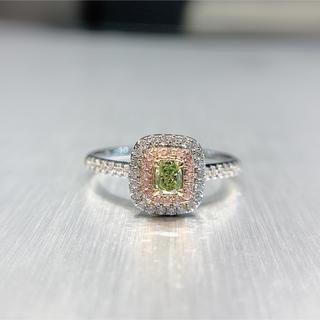 年末セール処理グリーンイエローダイヤモンドシンプル指輪