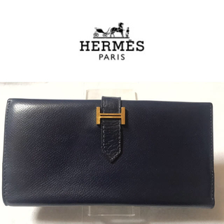 エルメス(Hermes)の正規品☆エルメス ベアン ネイビー ゴールド 長財布(長財布)