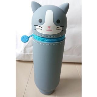 スタンドぺンケース 筆箱 シリコン製●ハチワレネコ グレー猫 ●未使用