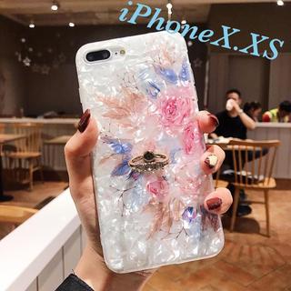 iPhoneXケース iPhoneXSケース 花柄シェル iPhoneケース
