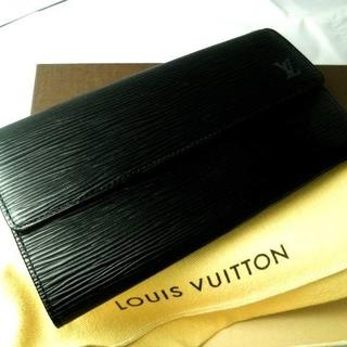 LOUIS VUITTON - ■【良品!】本物サラ!★ヴィトン 黒エピ ファスナー長財布★M63572■