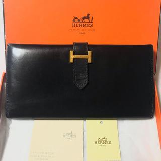 エルメス(Hermes)のmaiko様 箱なし☆エルメス ベアン ボックスカーフ ブラック(長財布)