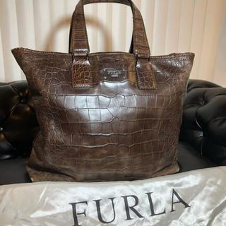 Furla - FURLA UOMO 牛革 オールレザー クロコ型押し トートバッグ