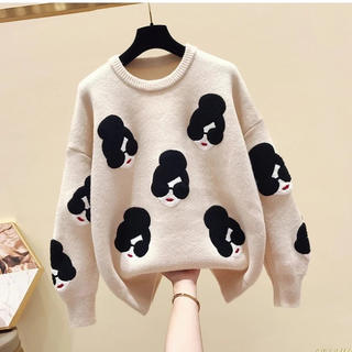 dholic - SALE フェイスモチーフ セーター