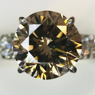 プラチナ製 大粒2.6ct ブラウンダイヤ ダイヤ リング