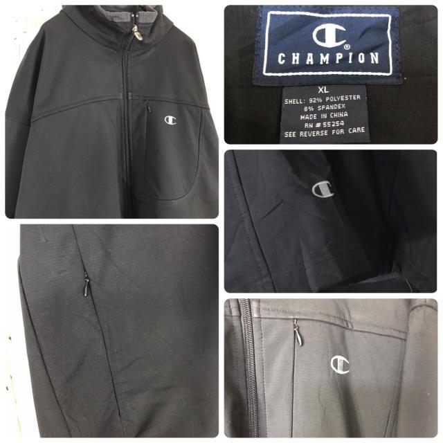 Champion(チャンピオン)のチャンピオン ナイロンジャケット ワンポイント刺繍ロゴ ソフトシェル ブラック メンズのジャケット/アウター(ナイロンジャケット)の商品写真