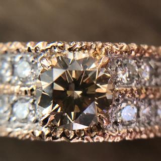 24日まで❗️ k18 大粒1.149ctブラウンダイヤ ダイヤ リング(リング(指輪))