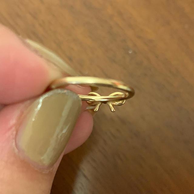 NOJESS(ノジェス)のNOJESSノジェス♡リボンモチーフピンキーリング K10ゴールド レディースのアクセサリー(リング(指輪))の商品写真