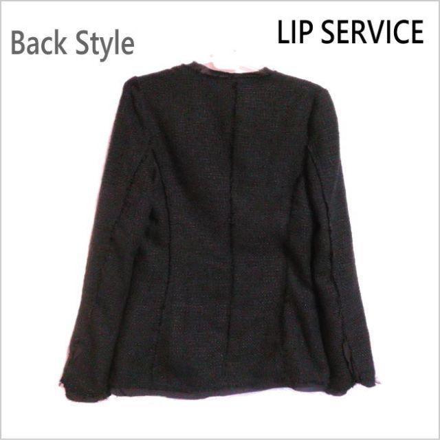 LIP SERVICE(リップサービス)の新品タグ付き◆リップサービス◆黒織り込みフロントホックジャケット◆3  レディースのジャケット/アウター(その他)の商品写真